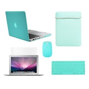 "Top Case Macbook Pro 13"" 13-Inch (A1278 / With Or Without Thunderbolt) 5 In 1 Bundle - Hot Blue Ultra Slim Light Weight Crystal Hard Case Cover + Matching Color Soft Sleeve Bag +Wireless Mouse + Silicone Keyboard Cover + Lcd Hd Clear Screen Protector -Not"