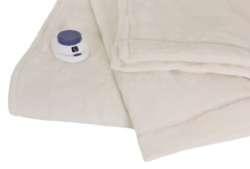 Soft Heat Luxurious Macromink Fleece Low-Voltage Electric Heated Blanket, Twin Size, Natural