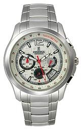 Festina Travelers Chrono Steel Bracelet Textured White Dial Men's watch #F16291/1