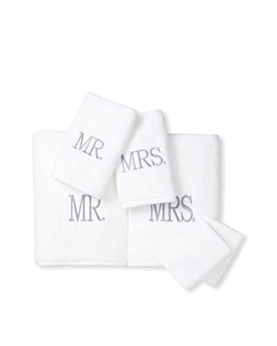 Home Source Mr. & Mrs. Luxury 6-Piece Towel Set, White/Gray