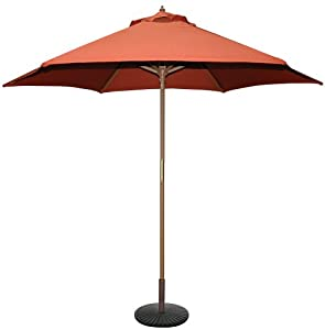 TropiShade 9-Feet Bronze Light Wood Market Umbrella with Rust Poly Cover