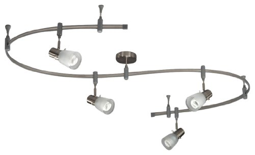Royal Pacific 7968Ba 4-Light Gu24 Cfl Flex Track Pack With Frosted Glass Shades, Brushed Aluminum, 10-Foot