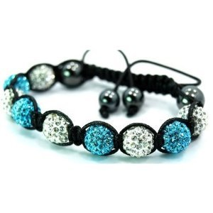 Sleek Gadgets - Threaded Turquoise Silver Shamballa Bracelet with 9 Diamond Sparkling Crystal Ball with Magnetic Pull String Ball