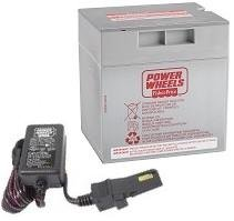 Gray 12V Power Wheels Battery + 12 Volt Gray Charger w/ Probe 00801-1480 by Power Wheels