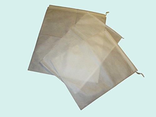 不織布 袋 巾着 白 大判 3サイズ 9枚セット ブーツ バッグ 靴 洋服などの保存・収納に (9セット)