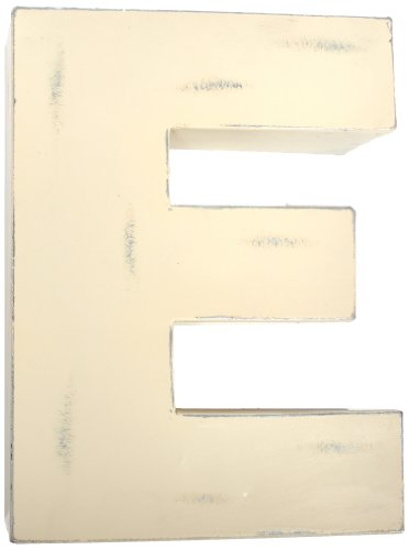 Found Object Sansarif 12-Inch Solid Letter Wall Hanging, Capital E, White