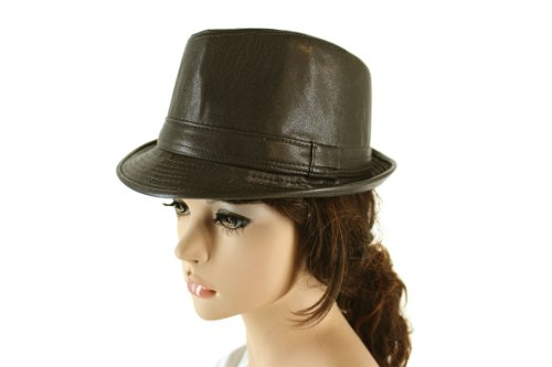Faux Leather Fedora in Grey