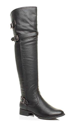 Donna tacco basso stivali cavallerizzo metà coscia sopra ginocchio taglia 7 40