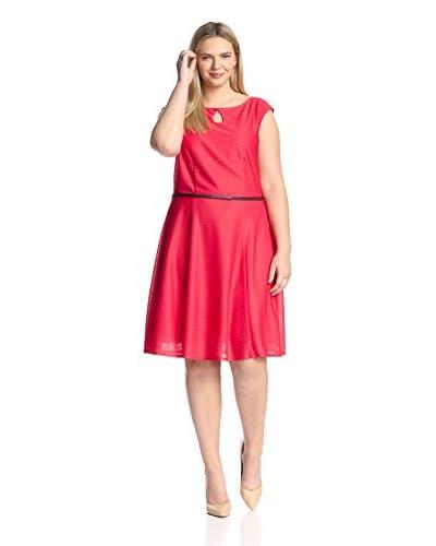 London Times Plus Women's Cap Sleeve Belted Dress