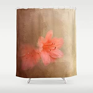 Society6 salmon azaleas flowers shower for Salmon bathroom ideas