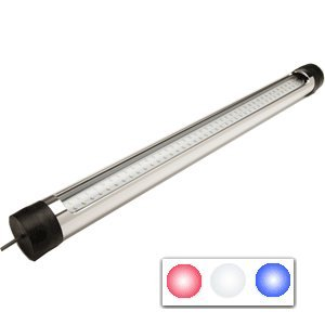 "The Amazing Quality Seamaster Round Silver T-Top Led Light - 23""- 12V - Red/White/Blue"