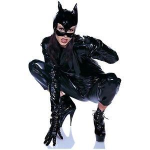 [Black Vinyl Cat Woman Mask Womens Halloween Fancy Dress Costume Accessory] (Costume Catwoman Vinyl)
