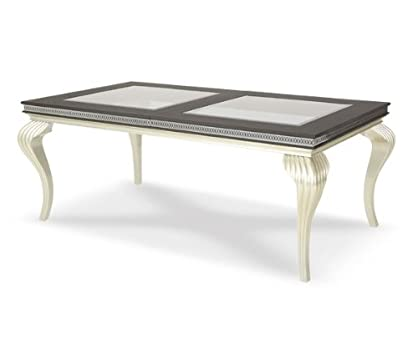 Fancy Hollywood Swank Platinum Leg Dining Table By Aico Amini