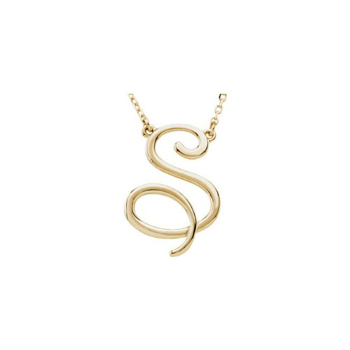 14K Yellow Gold S Script Initial 16 Necklace