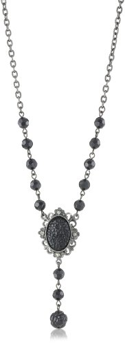 1928 Jewelry Jet Oval Y-Necklace