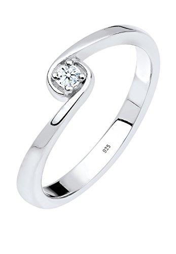 Diamore - Anello, argento sterling 925 con diamante, Donna, taglia 12