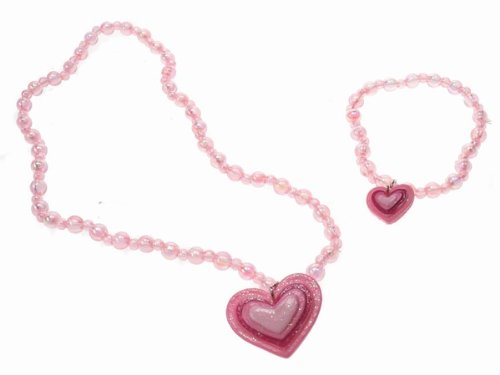 Glitz4Girlz Girls Pink Beaded Heart Jewellery Set