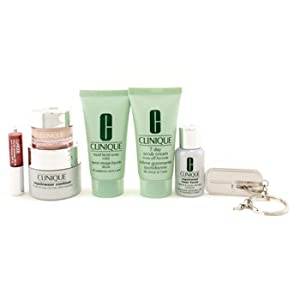Travel Set: Scrub Cream + Liquid Facial Soap + Repairwear Contour + Laser Focus + All About Eyes + Glosswear + Key Chain - Clinique - Travel Set - 7pcs