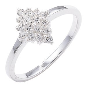 Sterling Silver Cubic Zirconia Cluster Ring - Size M