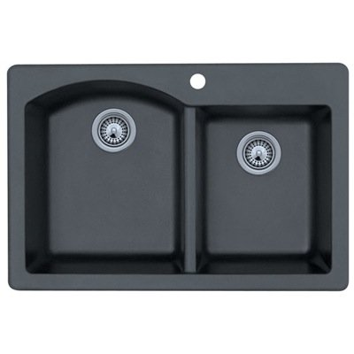 Swanstone QZDB-3322.077 33-Inch by 22-Inch Drop-In Double Bowl Kitchen Sink, Nero