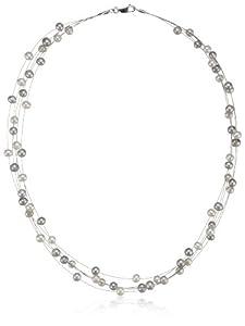 Valero Pearls Classic Collection Damen-Kette Hochwertige Süßwasser-Zuchtperlen in ca.  6 mm Oval weiß / grau 925 Sterling Silber    43 cm   400320