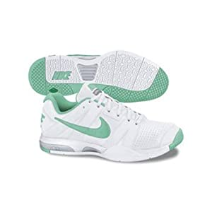 Nike Air Courtballistec 2.1 Tennis Shoe - Women's (White/Neutral Grey/Metallic Silver/Cool Mint)
