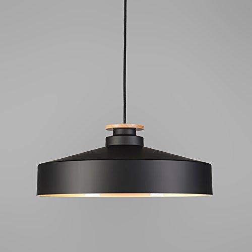 QAZQA Design, Modern Pendelleuchte Orchid 45 schwarz, Aluminium, Holz, Rund / LED geeignet E27 Max. 1 x 60 Watt
