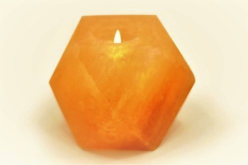 Natural Himalayan Crystal Rock Salt Candle Holder - Hexagon Shape (Natural Crystal Salt Candle compare prices)