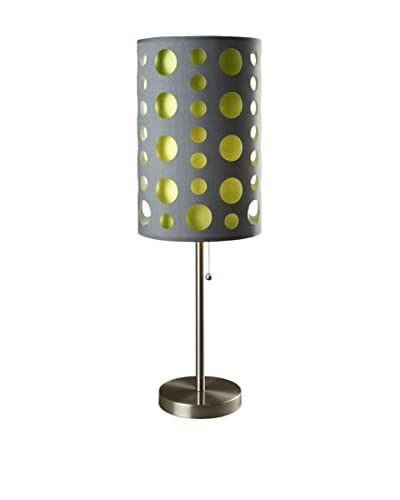 ORE International Modern Retro Table Lamp, Grey/Green