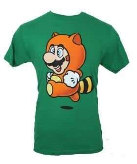 Super Mario Men's Brothers Racoon Suit Jumping Mario Tee