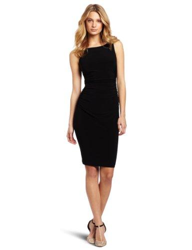 KAMALIKULTURE Women's Sleeveless Shirred Waist Dress, Black, Large