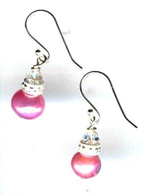Fresh Water Pink Pearl and Swarovski Crystal earrings
