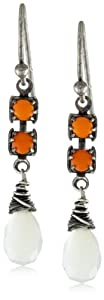 "Wasabi by Jill Pearson ""Vivid"" Mother-Of-Pearl and Orange Crystal Earrings"