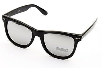 Horn Rimmed Retro Revo-lens Mirrored Sunglasses W1000 W100 (cz black-silver, mirrored) (Black Mirror)