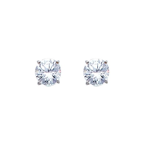 14K White Gold 5mm Round CZ Solitaire Basket Stud Earrings with Push-back