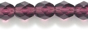 Preciosa Czech Fire 6 mm Faceted Round Polished Glass Bead, Deep Amethyst, 200-Pack