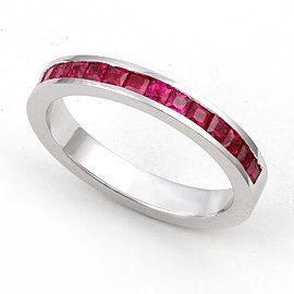 Platinum Channel set Ruby Wedding Band Ring