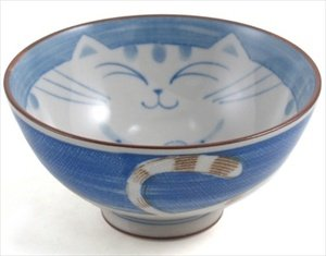 Smiling Blue Cat Porcelain Rice Bowl 4-1/2in #HR54/B