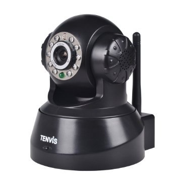 Tenvis Wireless Ip Pan/Tilt/ Night Vision Internet Surveillance Camera Built-In Microphone With Phone Remote Monitoring Support (Black)