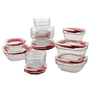 2 X Rubbermaid Easy Find Lid Glass Food Storage Set, 22-piece