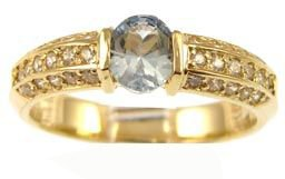 14k Yellow Gold, Simple Classic Design Ring with Lab Created Oval Shape Aqua Blue Colored Stone