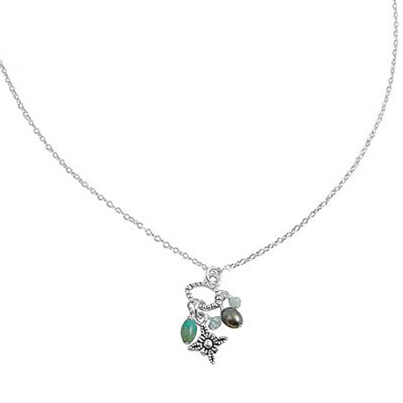 Cross Stone Cluster Charm Necklace in Sterling Silver