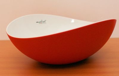 Mebel EN15-M02MV-RED Medium Size Oblong Salad Bowl in 2-Tone Melamine, Inside White Outside Red