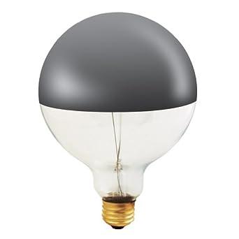 12 Pack 100 Watt G40 Medium Base 120 Volt 1500 Hour Clear Half Chrome Globe L...