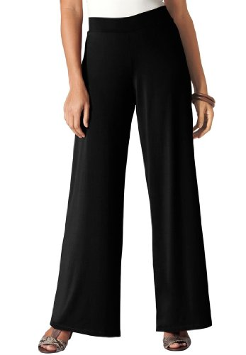Jessica London Women's Plus Size Stretch Jersey Wide-Leg Pants Black,22/24