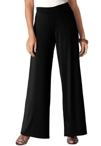 Jessica London Women's Plus Size Stretch Jersey Wide-Leg Pants Black,22/24