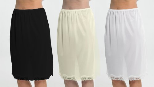 Set Of 3 Womens/Ladies Underskirt Slip With Lace Trim 100% Polyester Cling Resistant, 24Inch Length (60cms), 16/18