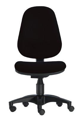 1000 Stühle Wannensitz-Bürodrehstuhl, Sitz BxTxH 450x440x430-530 mm, Hochlehner, Gestell schwarz, Bezug schwarz