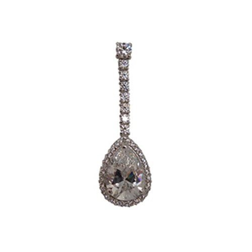 18 kt gold teardrop pendant with zircons