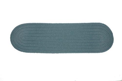 Rhody Rug Solid Polyester Ocean Blue Braided Rug, 8 by 28-Inch Stair Tread,